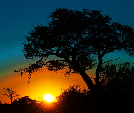 Kalagadi Transfrontier Park: Sunset at the Mapuya pans in Botswana