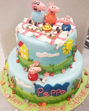 Amazing Peppa Pig Birthday Cake Picture Of Aroma Patisserie Enfield Personalised Birthday Cards Bromeletsinfo