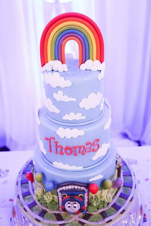 Pleasing Thomas The Tank Engine Themed Christening Cake Picture Of Aroma Personalised Birthday Cards Sponlily Jamesorg