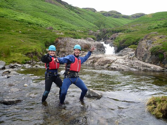 Kendal, UK: Ghyll Scrambling in The Lake District. The Esk Gorge.