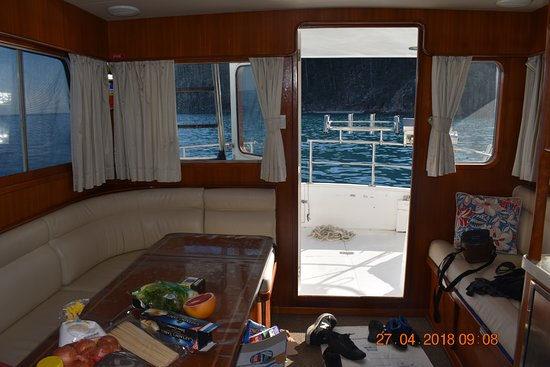 Whitsunday Escape : cabin, looking out to lower deck