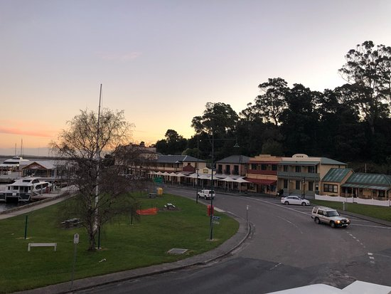 Strahan Village: View from Village Waterfront Executive Spa Suites at dusk