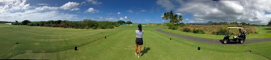 Beau Champ: View of the 17th hole Par 3. Green is by the ocean.