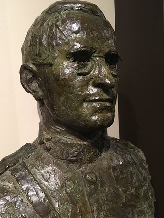 Independence, MO: Various busts of Truman are on display, this one of him downstairs.
