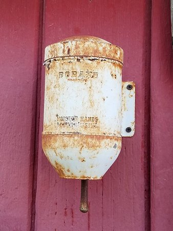 Shoshone, CA: Old Boraxo hand soap dispenser. Borax was mined in Death Valley.
