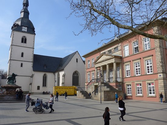 Historische Altstadt: Detmold, Old Town, Market Square with Town Hall and Redeemer Church
