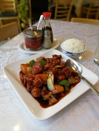 Called bones on the menu, but this ample meal is aka sweet and sour ribs