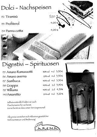 Zusmarshausen, Germany: speisekarte