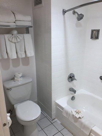 The Anaheim Hotel : toilet and shower area