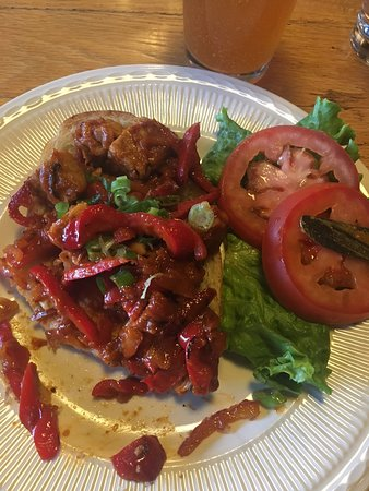 Jeffrey's Bistro: Oaxacan BBQ Tempeh - an open-faced sandwich with marinated tempeh, spicy Chipotle BBQ sauce, red