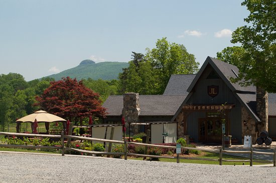 JOLO Winery & Vineyards: The restaurant. Pilot Mountain is visible in the upper left.
