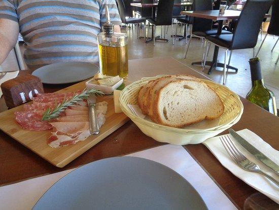 LaFattoria: Salami,Itiaialn cured pork, Marinated artichokes ,Panedi casa bread ,mild italian cheeese