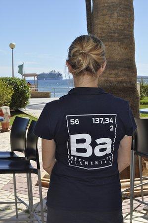 Bario Restaurante Elemental:  Desde nuestra terraza contemplamos zarpar al Simphony of the Seas, el crucero más grande del mu