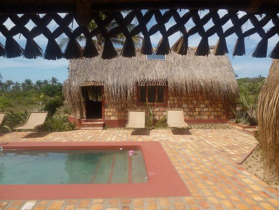 Inhambane Province, Mosambik: A view of the pool and one of the bedrooms, taken from the main family area