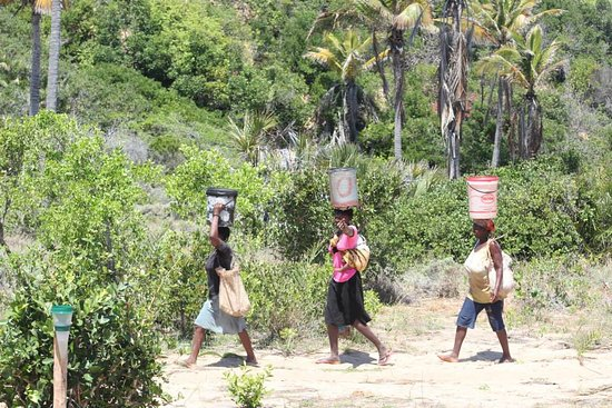 Provinsen Inhambane, Mocambique: The local villagers walk past. This is a view from the main family area