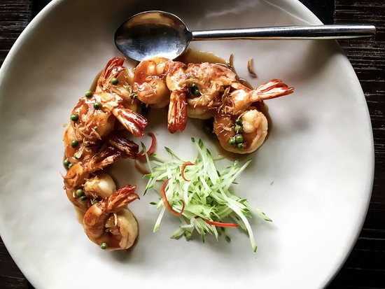 Four Seasons Tented Camp Golden Triangle: Lunch menu - Goong Makham - Grilled Tiger Prawns with Sweet and Sour Tamarind Sauce