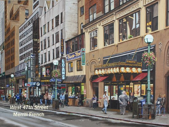 """Essex, CT: """"West 47th St."""" by Merrill French, oil, 18 x 24"""""""