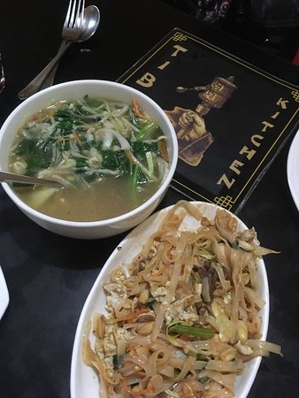 Tibet Kitchen: Mixed Pad Thai Noodles and Chicken Thukpa..