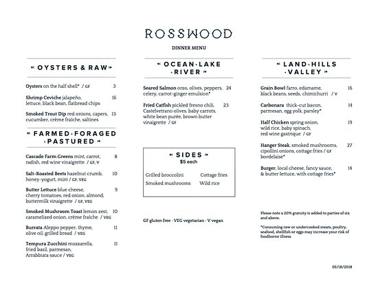 Rosswood Dinner Menu