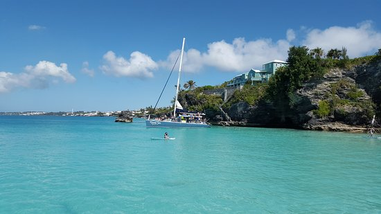 Bermuda Catamaran Sail and Snorkel Tour: The perfect place to learn to paddle board. I nice cove area with a beach area.