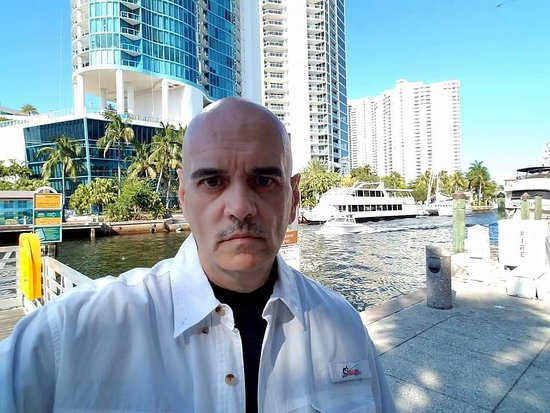 The Historic Downtowner: Bill Lewis of Cooper City visiting the Downtowner in Fort Lauderdale, Florida.
