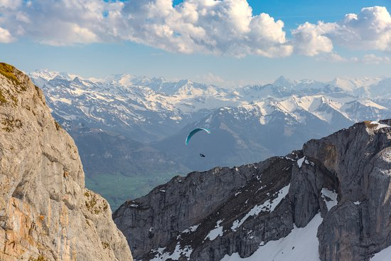 Hotel Bellevue: Paragliders in front of the hotel