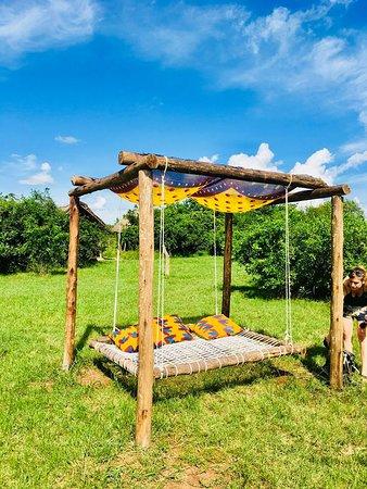 Lake Mburo National Park, أوغندا: our Zanzibar inspired lazy day swinging bed 