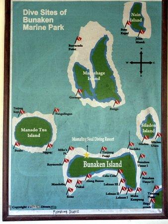 Mamaling Resort Bunaken: Mamaling Souldiving location & dive sites