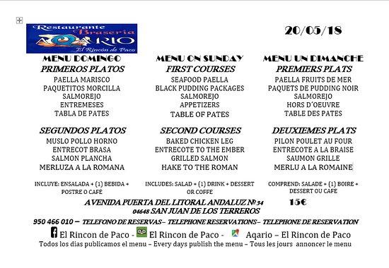 San Juan de los Terreros, إسبانيا: MENU DIARIO - DOMINGO 20/05