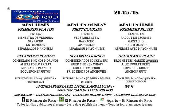 San Juan de los Terreros, إسبانيا: MENU DIARIO - LUNES 21/05
