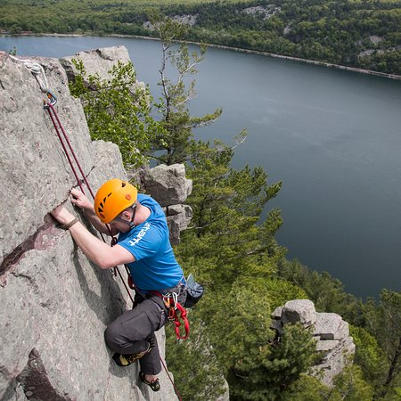 Baraboo, WI: Climbing 500 feet above Devil's Lake on the Weissner Face.