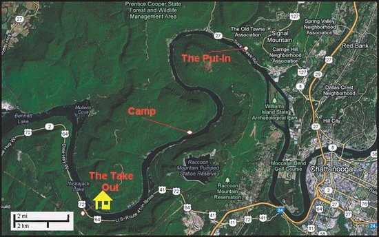 Canoe Kayak Chattanooga: Tennessee River Gorge Map
