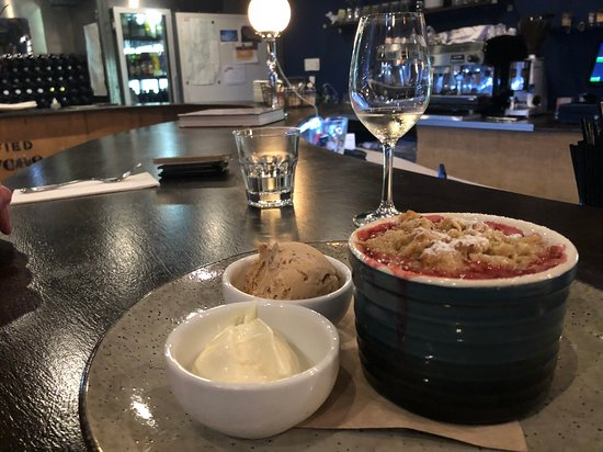 The Locavore: Vegan gluten free rhubarb and pear crumble! Yum! (Ice cream and cream not vegan but placed on th