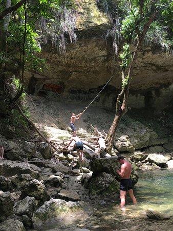San Sebastian, Puerto Rico: Rope swing at the upper waterfall
