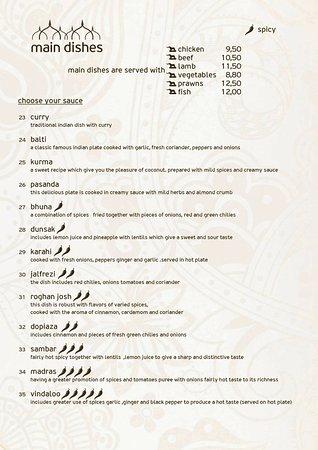 Krisna Indian Restaurant: main dishes