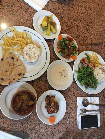 El Hussein Restaurant: vegetable tagine & mix grill with sides