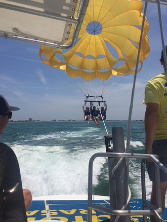 Gators Parasail: Getting ready for a foot dip. 2 thumbs up
