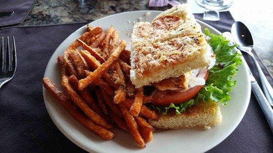 Oregon, OH: Salmon sandwich and sweet potato fries