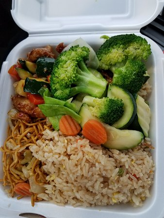 Yukon, OK: Fried Rice, noodles, kung pao chicken, steamed vegetables