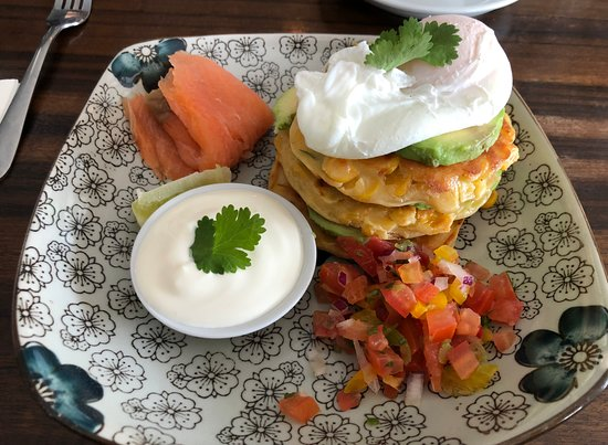 Vancouver Street Cafe: Corn Fritters with Salsa and Sour Cream & Salmon $22.00