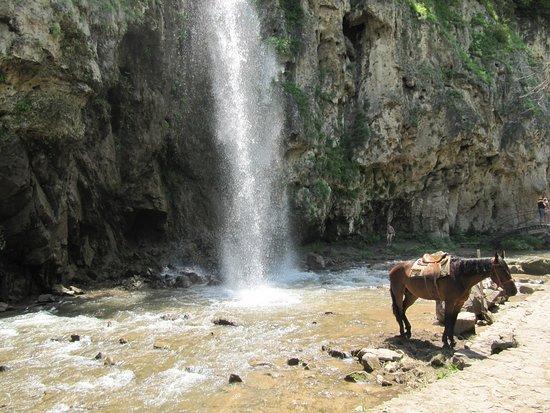 Medovie Vodopady Tourist Complex: Пятый водопад-Малый Медовый водопад осенью.