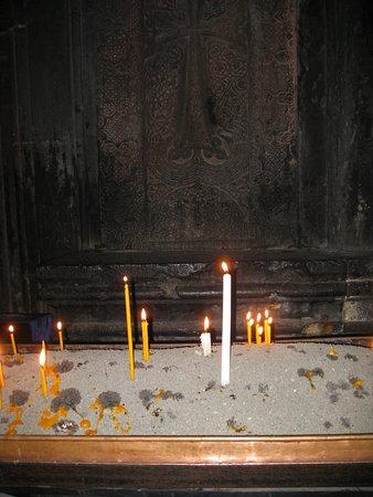 The Monastery of Geghard: свечи в храме...