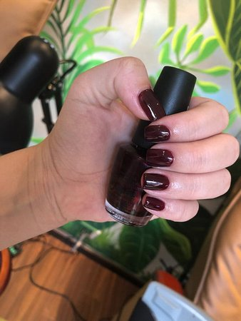 The Garden Nail Spa: They felt in love with the deeply red color by OPI!