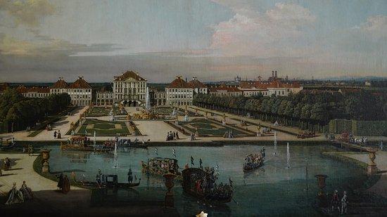Residenz: das frisch restauriete Bild mit dem Blick auf Schloß Nymphenburgvon Bernado Bellotti,