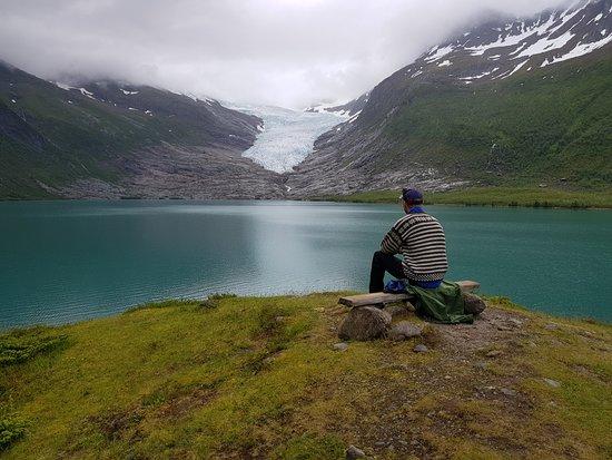 Meløy kommune, Norge: Utsikt til breen.
