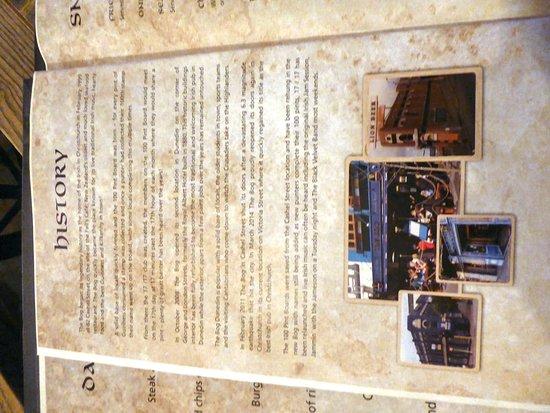 The Bog Irish Bar & Restaurant: The Bog Irish Bar menu contains interesting history notes