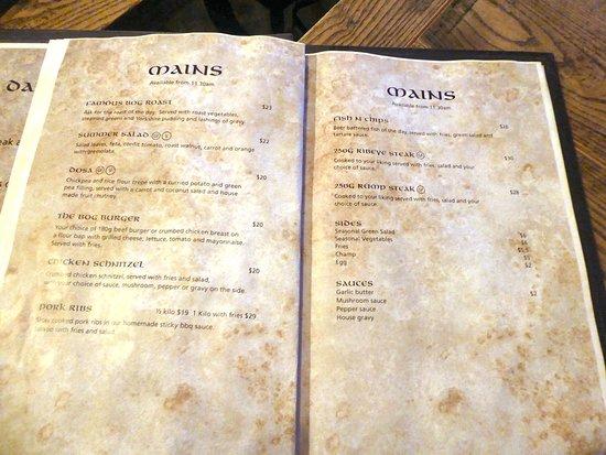 The Bog Irish Bar & Restaurant: Well priced menu at The Bog Irish Bar