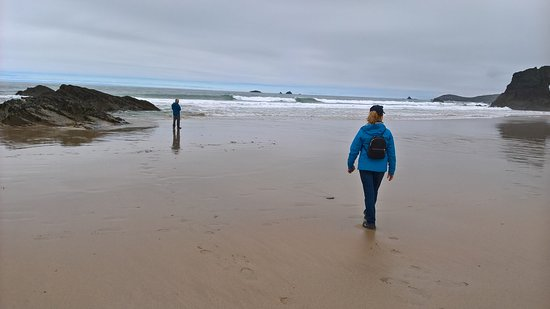 Keith's Cornish Tours : Two of my guests at Porthcothan Beach