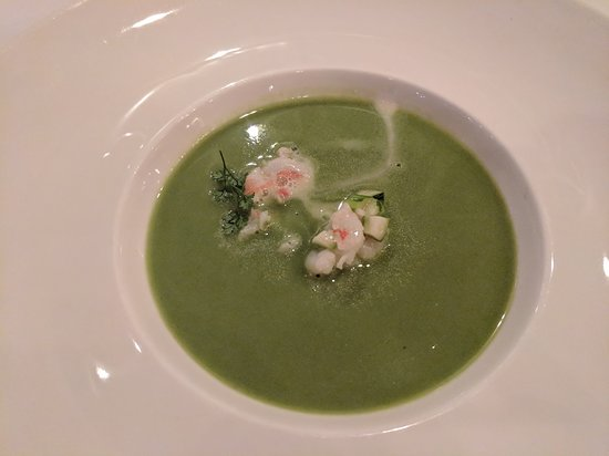 Forestville, CA: Dinner at Farmhouse Inn - Asparagus Spring Onion Soup with Florida Rock Shrimp