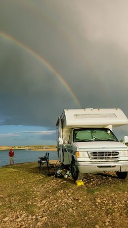 Fort Sumner, NM: beautiful double rainbow over sumner lake